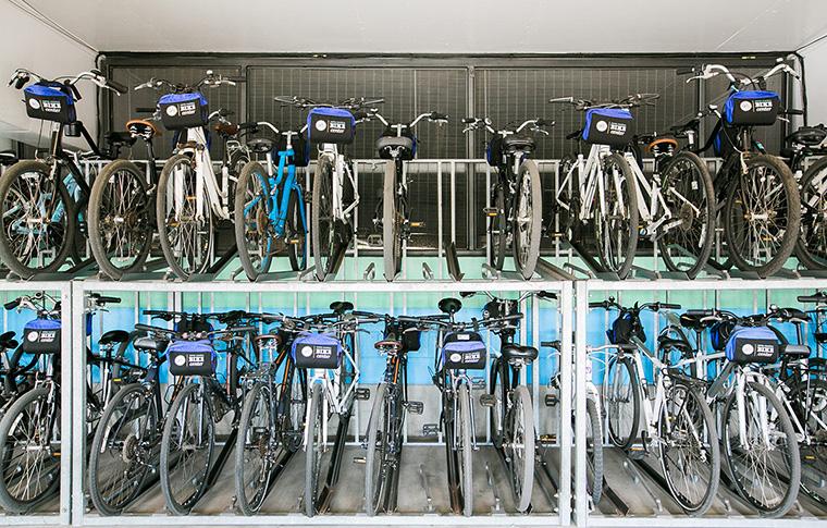 the bike center rental station bike racks