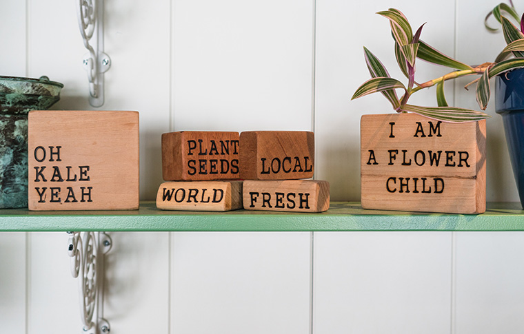 signs on wooden blocks