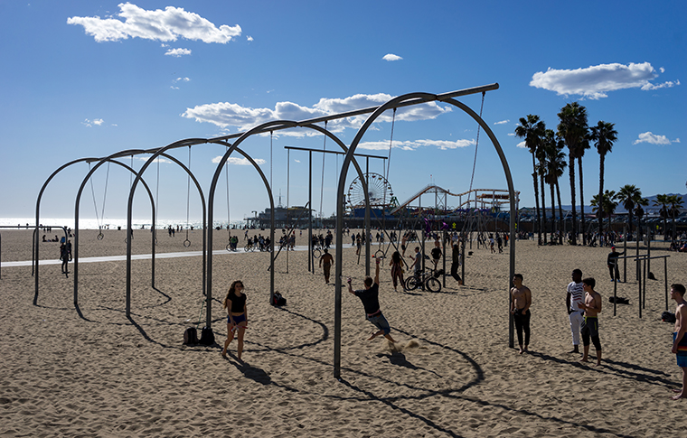 kids on a playground near santa monica pier