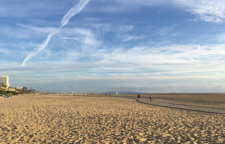 santa monica beach with a clear sky