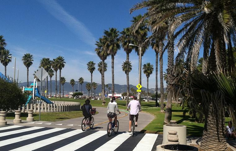 people bicycling past a crosswalk in santa monica