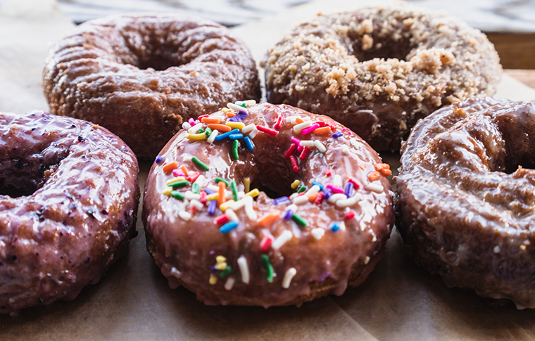 an array of donuts