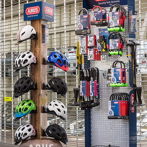 retail stand with helmets and bike locks