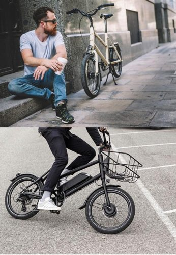 dual photo of the orbea bicycle and a man riding it