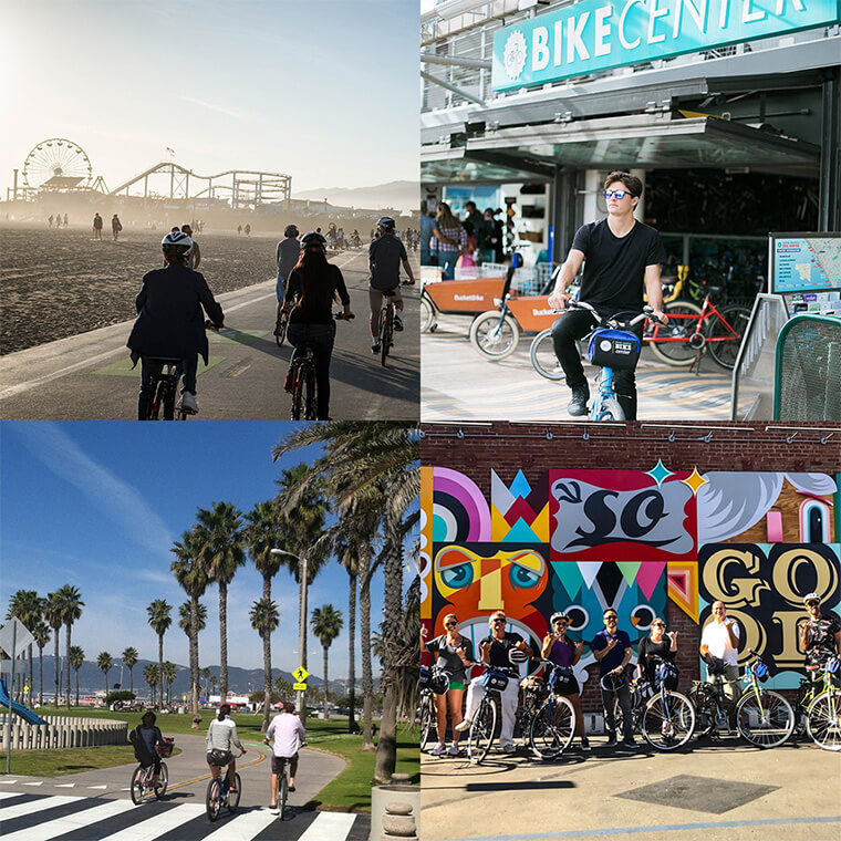Collage of people riding bikes in different Santa Monica, California sights